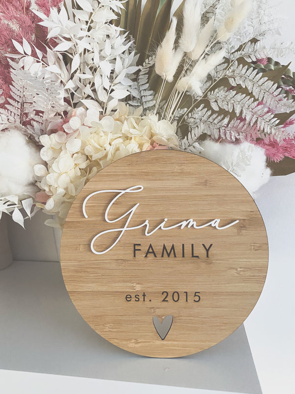 Family plaque - bamboo or plywood