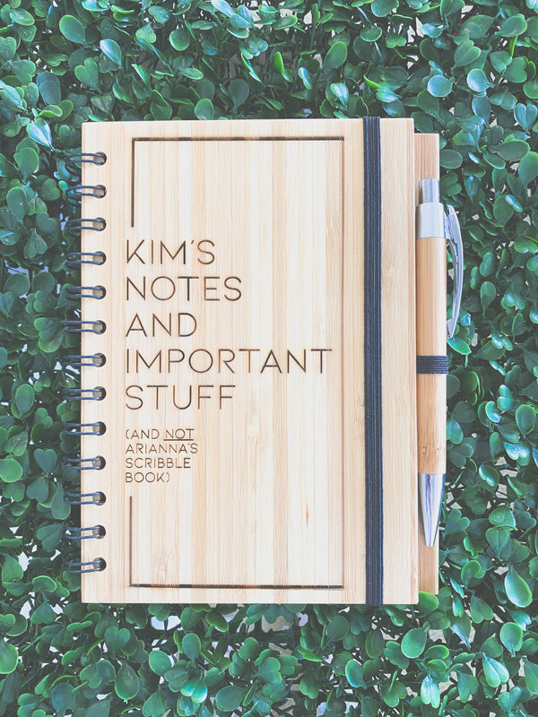 Engraved bamboo notebook with pen