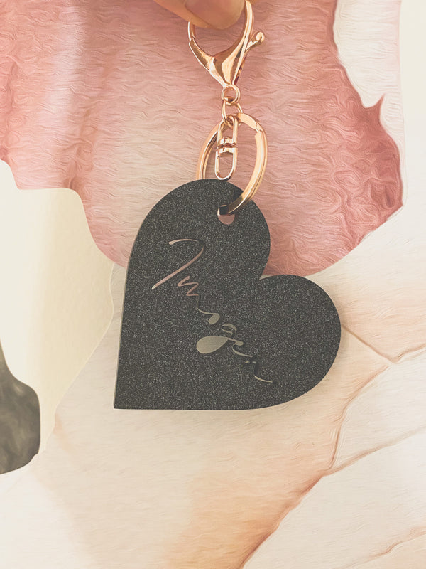 Black glitter Acrylic bag tag / key ring / luggage tag