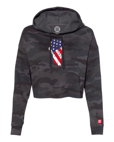 Raise The Flag Crop Hoodie