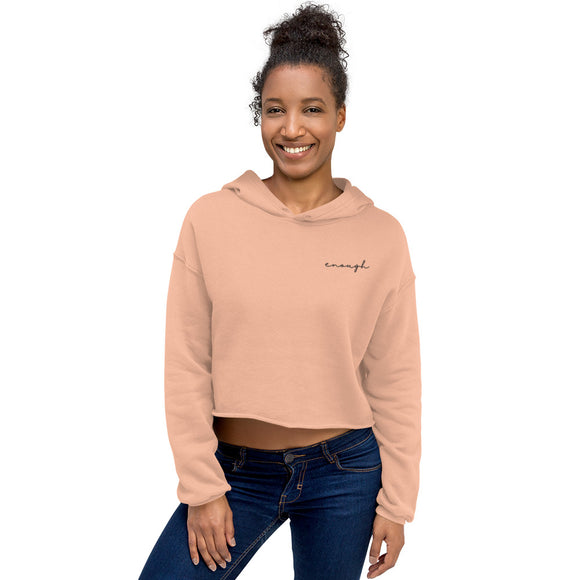 Enough | Embroidered Crop Hoodie