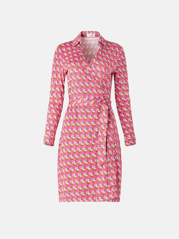 New Jeanne Two Silk-jersey Wrap Dress in Zen Flora Pink