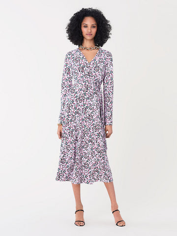 Tilly Silk Crepe De Chine Midi Wrap in Seeds Small Bloom