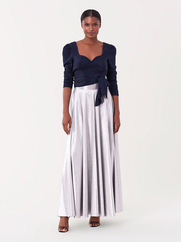 High-waisted Draped Maxi Skirt in Silver