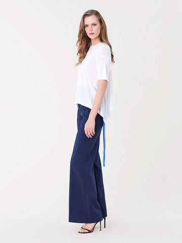 Pleat Front Linen Flare Pants in New Navy