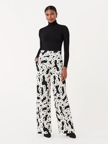 Erica Cady Wide-Leg Pants in Crawling Chain Black