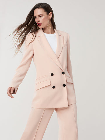 Madison Double-Breasted Blazer in Coral Dust
