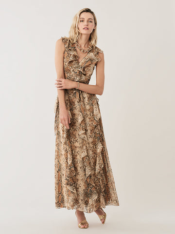 Lacey Silk Maxi Wrap Dress in Python Kola