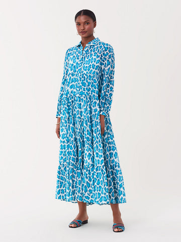 Kiara Cotton Maxi Dress in Natural Leopard Smpl Bluebird