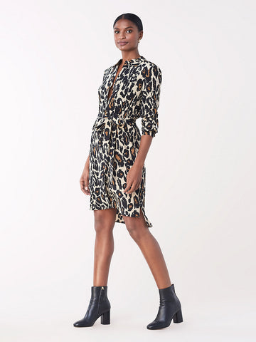 Prita Silk Crepe de Chine Shirt Dress in Leopard Cat Sand