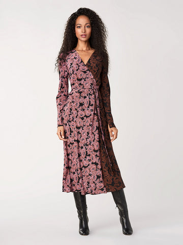 Tilly Silk Crepe de Chine Wrap Dress in Camellias Multi