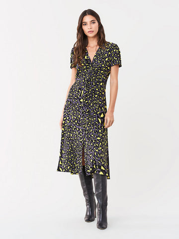 Cecilia Ruched Crepe Midi Dress in Snow Leopard Iron