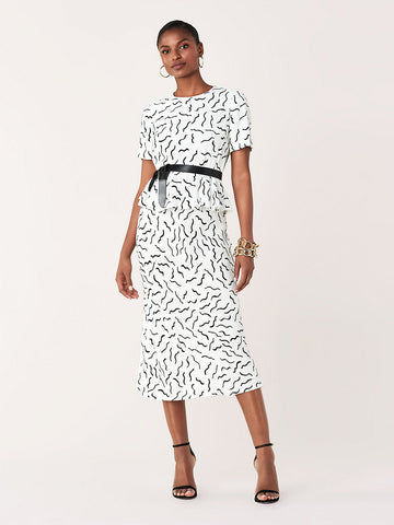 Mae Crepe Midi Skirt in Abstract Lines White