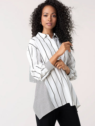 Desiree Woven Open-Back Shirt in White/Whitecap/Black