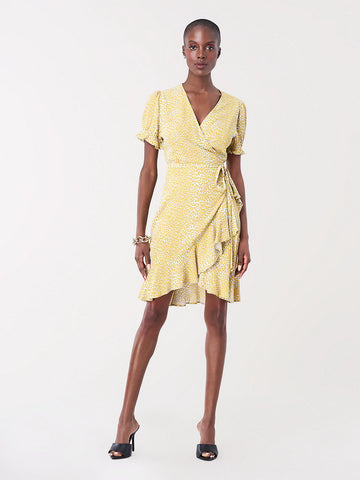 Emilia Ruffled Crepe Mini Wrap Dress in Serval Light Daydream