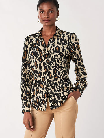 Mariah Silk Crepe de Chine Shirt in Leopard Cat Sand