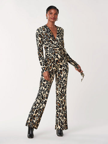 Melinda Silk-jersey Jumpsuit in Leopard Cat Sand