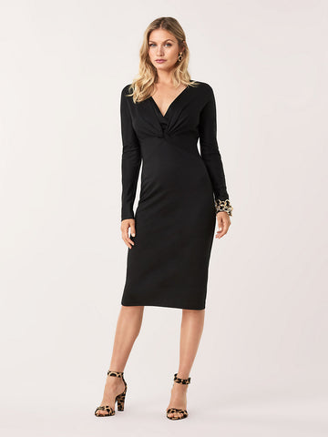 Regina Wool-Blend Midi Dress in Black