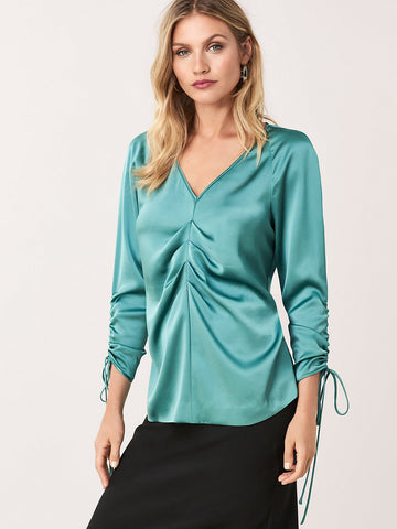 Shay Satin Ruched Blouse in Blue Spruce