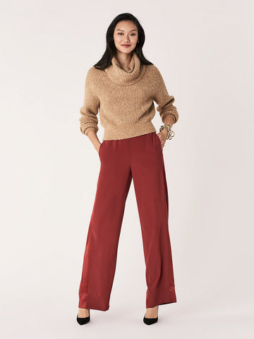 Ciara Satin Crepe Pants in Jam