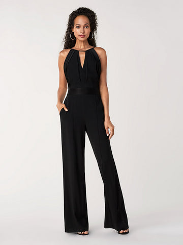 Ireland Satin Back Crepe Wide-Leg Jumpsuit in Black