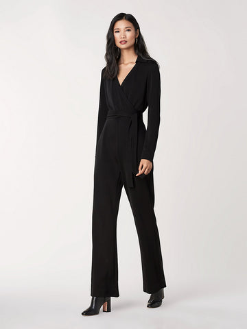 Aries Jersey-Blend Knit Belted Jumpsuit in Black