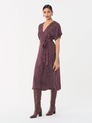 Kelsey Stretch Georgette Wrap Dress in Ditsy Leaves Tobacco