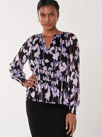 Jacie Chiffon Smocked Blouse in Midnight Forest Black