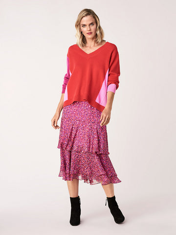 Meg Silk Chiffon Tiered Midi Skirt in Scribble Garden Acai