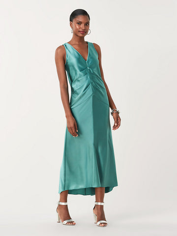 Seraphina Soft Satin Ruched Midi Dress in Blue Spruce