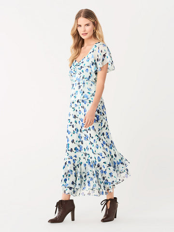 Debra Crinkle Chiffon Midi Skirt in Floating Florals