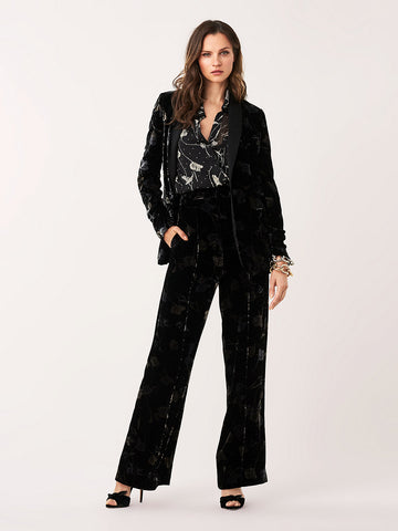 Mabel Velvet Straight-Leg Pants in Tossed Tulips Black
