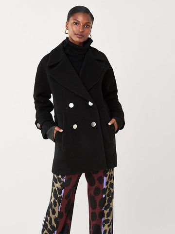 Olivera Double-Face Wool Coat in Black