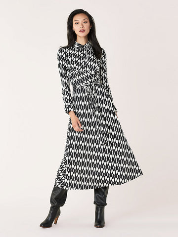 Sana Jersey-Blend Faux-Wrap Dress in Houndstooth Ivory