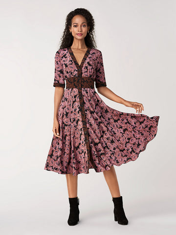 Peony Silk Crepe De Chine Midi Dress in Camellias Multi
