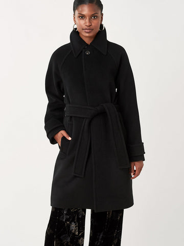 Lia Wool Belted Coat in Black