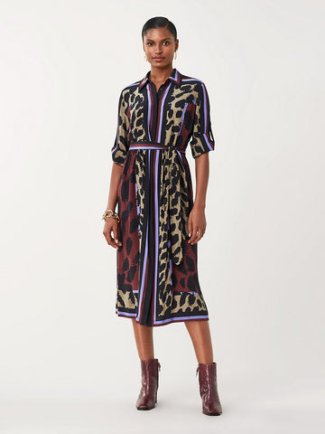 Sogol Silk Crepe de Chine Shirt Dress in Dark Leopard