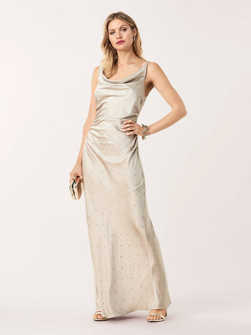 Eden Soft Satin Swarovski Cowl Neck Gown in Storm
