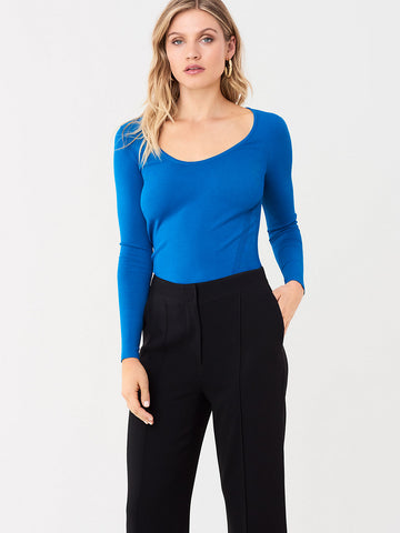 Akira Stretch Milano Long-Sleeve Top in New Coast