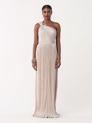Lucielle Chiffon One-Shoulder Gown in Pale Gold