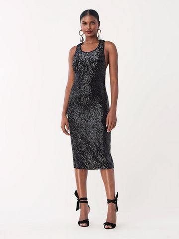 Mercury Sequined Jersey Fitted Dress in Black
