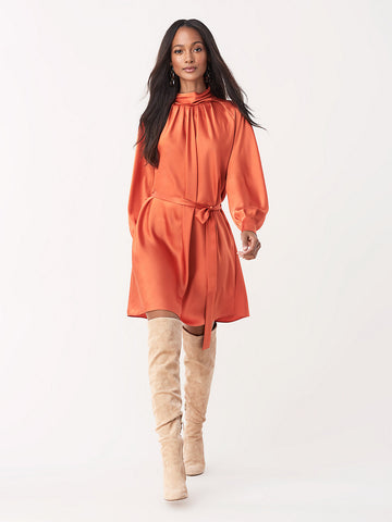 Veda Soft Satin Mini Dress in Burnt Orange