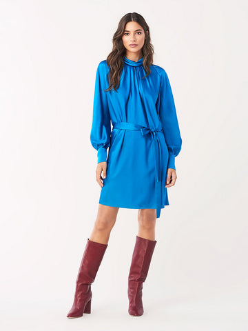 Veda Soft Satin Mini Dress in New Coast