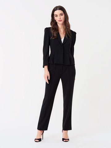 Riya Stretch Crepe Straight Pants in Black