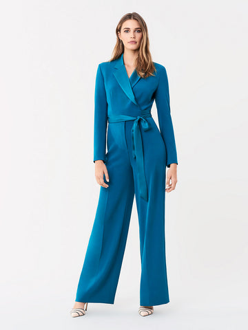 Monica Stretch Crepe Jumpsuit in Evergreen