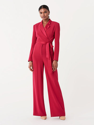 Monica Stretch Crepe Jumpsuit in Magenta