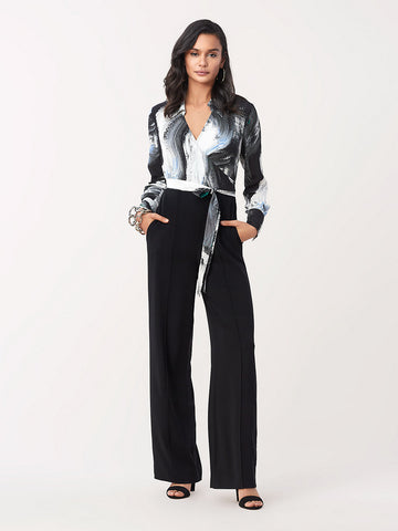 Patricia Stretch Crepe Faux-Wrap Jumpsuit in Black