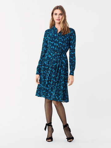 Dory Tissue Jersey Shirt Dress in Natural Leopard Evergreen
