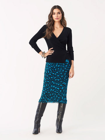 Elaine Jersey Midi Skirt in Natural Leopard Evergreen