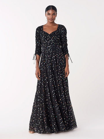 Bellona Metallic Dot Gown in Black Multi